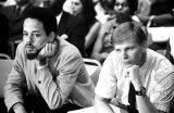 Two young men in the audience listening to testimony before the Senate Subcommittee on Employment,...