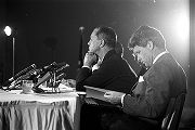 Senators Joseph Clark and Robert F. Kennedy of the Senate Subcommittee on Employment, Manpower,...