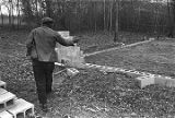 Roosevelt Bracy standing beside an area lined with the cinder blocks, which will be the basis for...