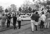 Crowd watching a Ku Klux Klan rally in front of the Capitol in Montgomery, Alabama.