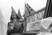 Alabama Grand Dragon James Spears at a Ku Klux Klan rally in Montgomery, Alabama, wearing his robe...