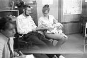 Paul and Pat Bokulich, SCLC workers in Greene County, Alabama, with their infant daughter, Rebecca.