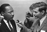 Martin Luther King, Jr., being interviewed at Tabernacle Baptist Church in Selma, Alabama.