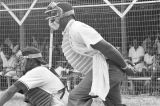 Catcher and umpire during a game played by teams of an amateur baseball league in Montgomery,...