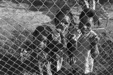 Three little girls behind a chain-link fence at a baseball game, probably in Montgomery, Alabama.