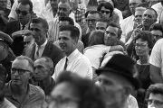Crowd listening to Governor George Wallace speak in Gadsden, Alabama, during a political rally.