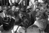 Governor George Wallace passing through a crowd in Anniston, Alabama, during a political rally.