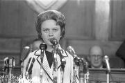 Governor Lurleen Wallace addressing a joint session of the legislature in the House chamber at the...