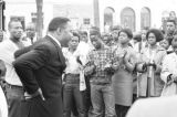 Hosea Williams addressing a crowd in downtown Eutaw, Alabama.