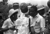 "Ralph Abernathy speaking to a woman during the ""March Against Fear"" through Mississippi,..."