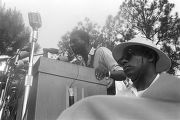Stokely Carmichael addressing an audience in front of the state capitol in Jackson, Mississippi,...