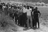 "Participants in the ""March Against Fear"" through Mississippi, standing in line at the..."