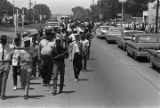 "Participants in the ""March Against Fear"" begun by James Meredith, passing through..."