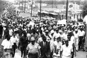 "Participants in the ""March Against Fear"" begun by James Meredith, walking down North..."