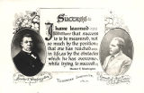 Card showing images of Booker T. Washington, founder of Tuskegee Institute in Tuskegee, Alabama,...