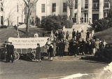 Gathering on the steps of the state capitol in Montgomery, Alabama, during the campaign of Hillary...