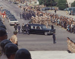 Hearse driving in the funeral procession for Governor Lurleen Wallace up Dexter Avenue toward the...