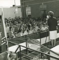 Lurleen Wallace giving a speech in downtown Aliceville, Alabama, during her gubernatorial campaign.