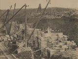 Construction of the Colbert Shoals lift lock on the Tennessee River near Riverton, Alabama.