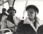 Johnnie Carr and Rosa Parks on a bus boycott reenactment in Montgomery, Alabama.