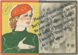 Japanese propaganda flier depicting a young woman who is begging a soldier to leave the war and...
