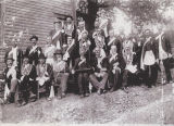 Group of Masons, probably outside the Baptist church building in Springville, Alabama.