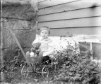 Virginia Pfaff, niece of Annie Pfaff, sitting in a wagon with a teddy bear.