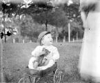 Ross Pfaff, nephew of Annie Pfaff, sitting in a wagon with a teddy bear.