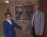 Governor Guy Hunt and his wife, Helen, in front of a plaque inside a rest area on Interstate 59 in...