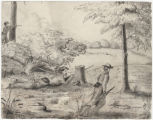 Sketch of four soldiers scouting in the woods at Meridian, Mississippi.