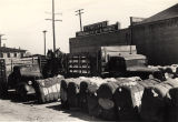Bales of cotton in the street and mules to be auctioned off outside of the S.T. Kelly & Co....
