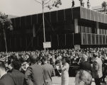 Crowd gathered on a downtown street in California for a George Wallace rally during the 1968...