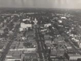 Aerial view of downtown Montgomery, Alabama, facing east toward the Capitol.