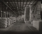 Interior of the warehouse of the International Paper Company mill in Mobile, Alabama.