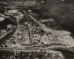 Aerial view of the Scott Paper Company on the Mobile River, just north of the Alabama State Docks...