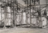 Transformers and circuit breakers at the Gadsden Steam Plant of the Alabama Power Company.