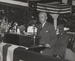 Thomas W. Martin, president of the Alabama Power Company, addressing an audience outdoors near...
