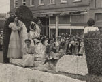 Strawberry Festival queen and attendants on a float in the parade in Cullman, Alabama.