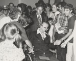 Governor George Wallace speaking to people at the Capitol in Montgomery, Alabama, after his return...