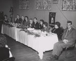 Governor George Wallace at a luncheon or banquet of the Magic City Cheer Club of the Alabama...