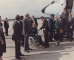 President Ronald Reagan shaking hands with Governor George Wallace outside the presidential...