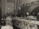 """Eddie Rickenbacker, president of Eastern Air Lines, addressed members of the Birmingham Aero..."