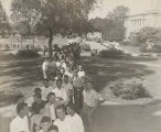Students standing in line to register for classes at Alabama Polytechnic Institute in Auburn,...