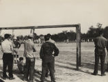 German prisoners of war playing soccer at the POW camp in Aliceville, Alabama.