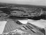 Aerial view of Garrett Coliseum and the surrounding area in Montgomery, Alabama.