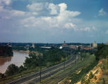 Railroad yards by the river in Montgomery, Alabama.
