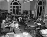 Ford Foundation discussion group in a library, probably in Montgomery, Alabama.