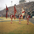 Female color guard members from Lee High School holding flags during the halftime show of the...