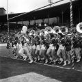 Band members on the sideline at the Blue-Gray game at Cramton Bowl in Montgomery, Alabama.