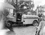 Gulf gasoline truck, after firemen extinguished a fire in the cab.